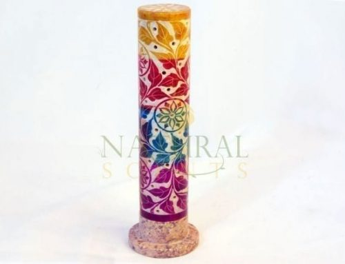Incense Stick Burner Colored Flowers Soap Stone Tower